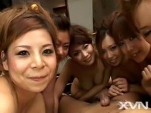 6 Japanese girls massage and take turns fucking a guy free