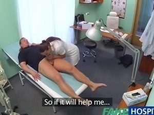 FakeHospital Hot brunette nurse gives patient some sexual healing