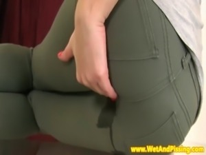 Watersports lover wetting her jeans free