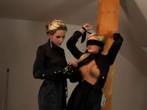 Clothed blondes toy pussy