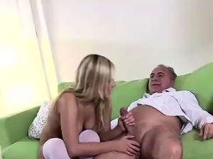 Blonde in uniform fucks older British guy