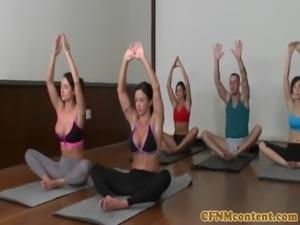 CFNM yoga milf group closeup swapping cum free