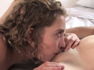 Brunette lesbian squirms from extreme orgasm after licking