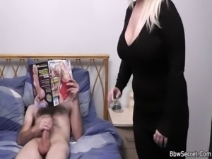 Hottest blonde BBW helps him cum free