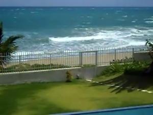 Neighbour masturbating on the pool