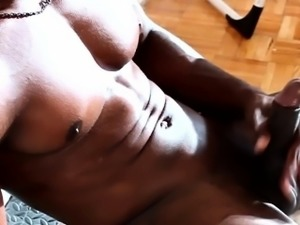 Solo ebony stud jering his cock