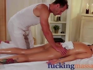 Massage Rooms Beautiful brunette oils up big cock