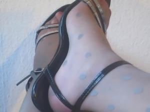 Heels and shiny Nylon Pantyhose