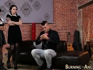 Emo goth sluts share cock