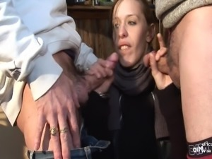 Horny french slut hard analyzed n facials in 3some with Papy