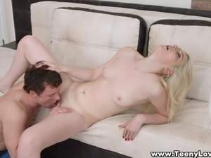 Teeny Lovers - Blonde takes vibrator and cock