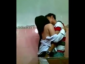 Asian Couple Fucking In School Toilet