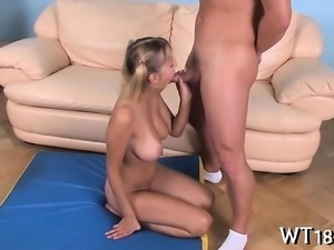 As soon as naked hotty stands doggystyle guy bonks her hard