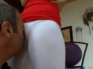 Asian woman London Keyes in white yoga pants shows her big breasts then...