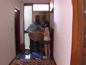 Nice tits Japanese amateur jerks of the delivery man hardcore