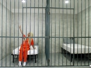 Imprisoned blonde inmate is happy to receive the dick into pussy