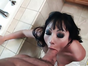 A blow job in the bathroom