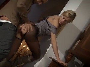Nice blonde in sexy nylons is fucked by new neighbor