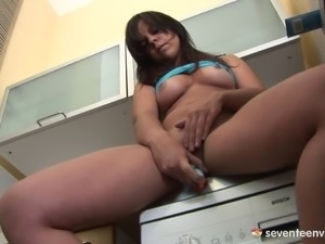 She loves the taste of her pussy on her cute little vibrator