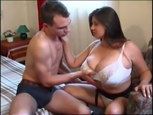 Good looking brunette with huge suckable titties knows how to give a great BJ