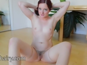 Maci May hairy pussy and a wet clit