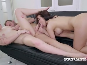 Sexy raven haired bitch Zoe Doll and her horny kooky enjoys hard 3 some in...
