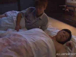 Aroused husband tempted to unpin his sleeping wife's panties before fingering...