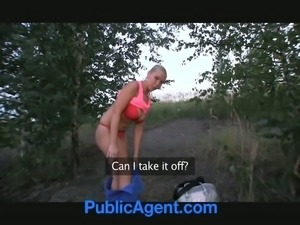 Slutty blonde girl gets fucked in a forest for money