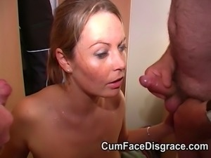 Real amateur facial cumshot party