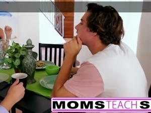 Cheating wife seduces tiny teen and step son