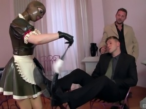 Sex goddess in latex clothes and the stiff cocks of her two friends