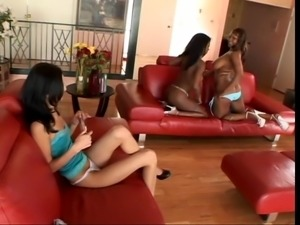 Two black chicks have lesbian fun with Latina