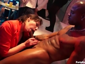 Orally talented cock worshiping club sluts blow the guys