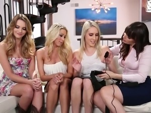 Pornstars have a beautiful lesbian foursome and they all get off