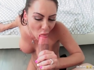 Big boobed horny mom shows a guy how real women suck a cock