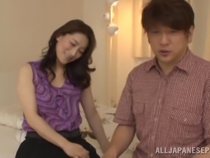 Flirtatious Japanese babe gives a blowjob then gets screwed hardcore until...