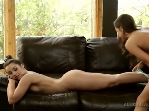 A couple of sweet dark haired chicks perform hot action on leather sofa