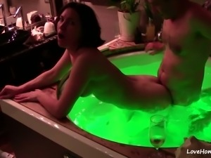 Drinking champagne and fucking in a hot tub