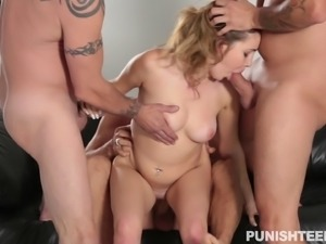 Long-haired babe finally gets to be surrounded with meaty peckers
