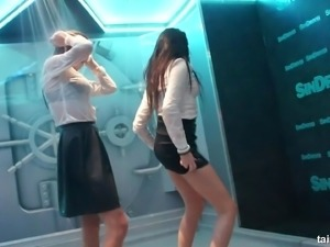 Tight pants and sexy blouses on two dancing hotties