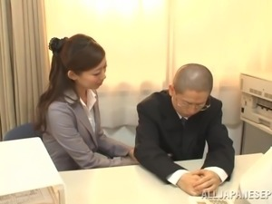 Sizzling Japanese Girl Licking And Sucking Her Boss' Cock In His Office