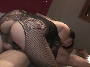 Saggy tittied whore in ripped fishnet pantyhose Soraya Wells gets fucked