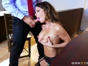Bosomy black head MILF in sexy stockings pleases hungry boss with stout deep...