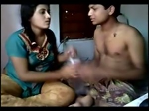 Sweet amateur Desi girl chilling with her boyfriend on bed