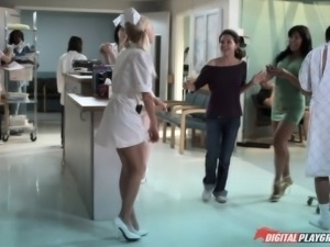 Nurse fantasy fucking with a big dick up her asshole