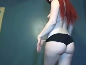 Cute redhead has saggy tits but quite beautiful ass