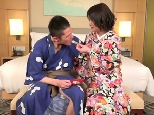 Japanese tranny in a kimono stripped and ass fucked in his hotel