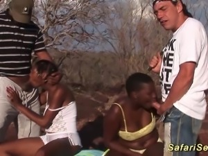 Hot threesome deepthroat orgy with busty african babes at my sex safari