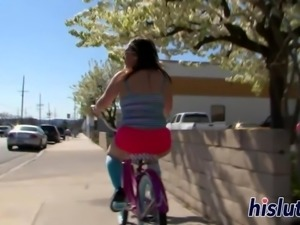 Chubby bitch enjoys riding on a dick