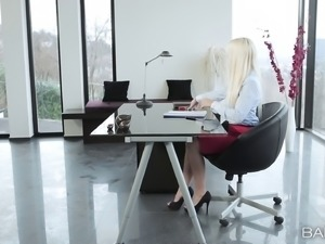 Beautiful office secretary with small tits fucking at work